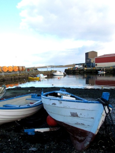 Small boat harbour on the edge of Lerwick's historic industrial docks