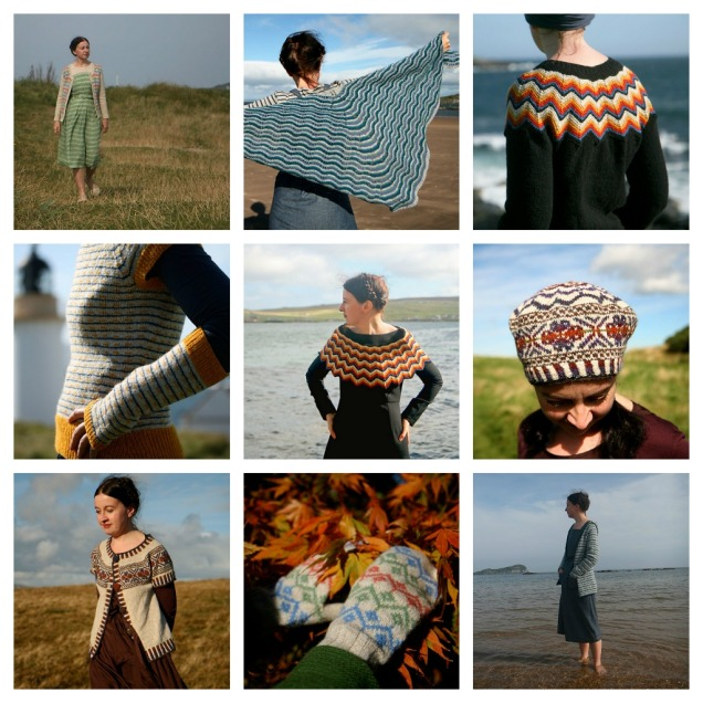 the Ten designs featured in Colours of Shetland. top row: Ursula Cardigan, Northmavine Hap, Puffin Sweater. middle row: Stevenson Sweater and Gauntlets, Puffin Mantle and Scatness Tam. bottom row: Scatness Tunic, Ursula Mittens and Northmavine Hoody