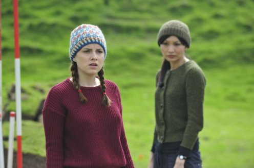 Kate Davies' Peerie Flooers hat on the left