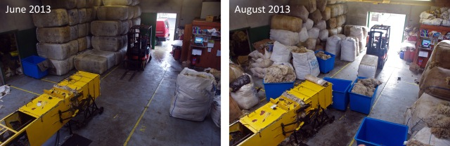 Comparing the middle of the wool season to the beginning in June gives a stark contrast to the amount of wool passing through the wool store