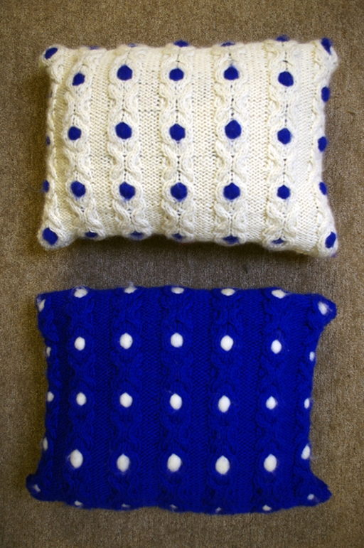 Noughts & Crosses Cushion blue/white
