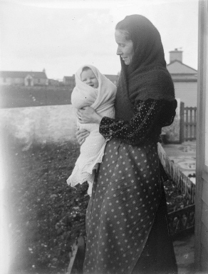 baby wrapped in a hap, courtesy of the Shetland Museum and Archives.