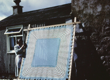 a hap drying outside in the 1970's. Courtesy of the Shetland Museum and Archives.