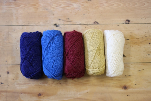 L-R: Mussel Blue, Indigo, Berry Wine, Auld Gold and Fluggy White