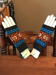 Fire KAL mitts by MaureeninFargo